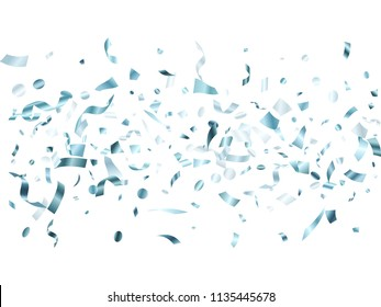 Metallic silver glossy holiday realistic confetti flying vector background. Luxurious flying tinsels, foil texture serpentine streamers, sparkles, confetti falling anniversary background.