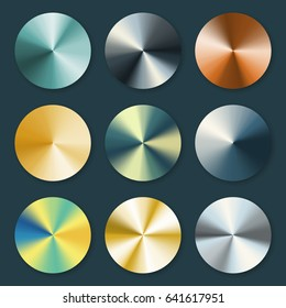 Metallic silver and gold conical metal vector gradients