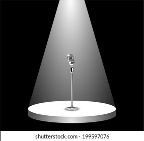 Metallic silver microphone standing on an empty stage under the light of spotlight. beam of light on the podium in the dark, shines mic. vector art image illustration, isolated on black background