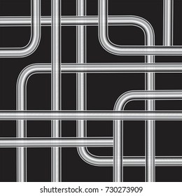 Metallic silver pipes, isolated on black background vector illustration