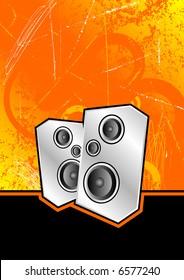 metallic silver speakers set against an orange scratched grunge background