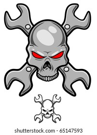 a metallic skull with crossed wrenches behind.
