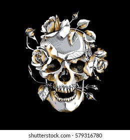 Metallic Skull with a gold Roses flowers on a black background. Vector illustration.
