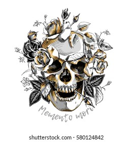 Metallic Skull with a gold Roses flowers on a white background. Vector illustration.