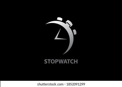 Metallic stopwatch logo design concept, countdown vector icon and symbol, simple modern and minimalist, isolated on black background.
