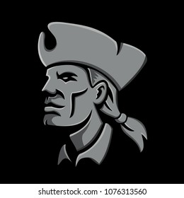 Metallic style flat icon or mascot illustration of head of an American patriot, minuteman or militia revolutionary soldier wearing tricorne hat on isolated black background.