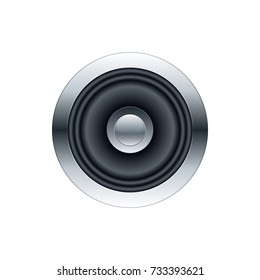 Metallic sub woofer speaker front view. Vector illustration template.