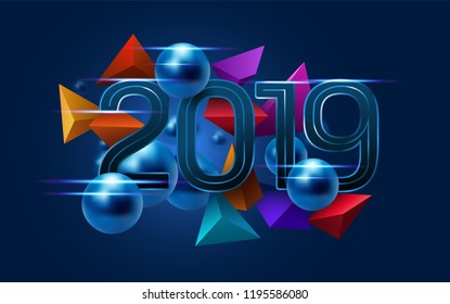 Metallic text 2019 with metal balls and colorful fragments on dark blue background. New year's greeting. Eps10 vector.