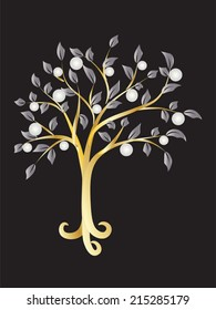 Metallic tree with pearls