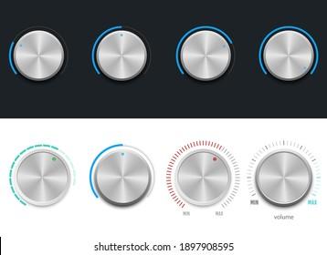 Metallic volume button vector design illustration isolated on background