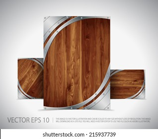 Metallic - Wooden Template Layout - Concept Vector Background Design