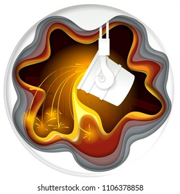 Metallurgical industry concept vector illustration in paper cut style. Melting iron process, ladle for melting steel. Origami metallurgy emblem.