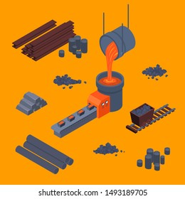 Metallurgical Process Sign 3d Icon Set Isometric View Include of Equipment, Iron, Rolling, Pipe, Ore, Slag and Plate. Vector illustration of Icons