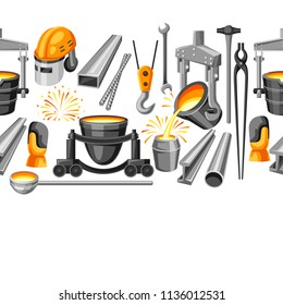 Metallurgical seamless pattern. Industrial items and equipment.