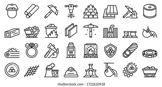 Metallurgie-Symbole gesetzt. Rahmenset für metallurgische Vektorsymbole für Webdesign einzeln auf weißem Hintergrund