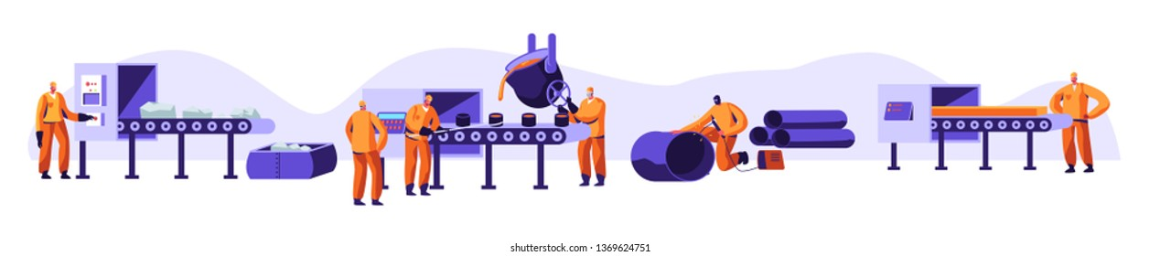 Metallurgy Industry Set. Resource Mining, Smelting of Metal in Big Foundry, Hot Steel Pouring in Steel Plant. Factory Workshop. Steel Workers in Metallurgy Process. Cartoon Flat Vector Illustration