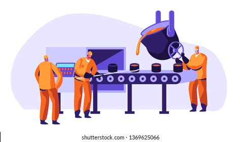 Metallurgy Industry Workers in Uniform Smelting Metal in Big Foundry and Pouring Hot Molten Steel or Iron Ore in Form During Smelting Process, Metal Production Company Cartoon Flat Vector Illustration