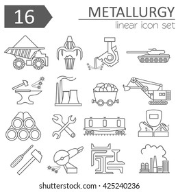 Metallurgy isolated icon set. Thin line icon design. Vector illustration