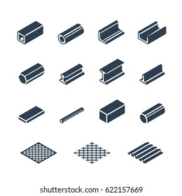 Metallurgy products vector icon set