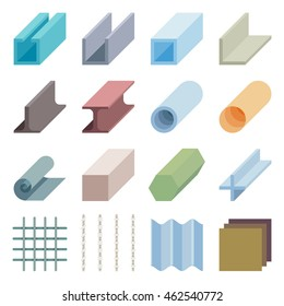 Metallurgy products vector icons. Isometric 3d elements. Industry material iron metal illustration