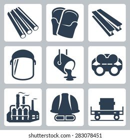 Metallurgy related vector icon set