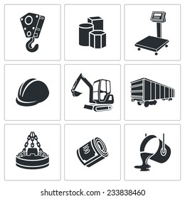 Metallurgy Vector Isolated Flat Icons Set