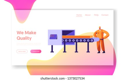 Metallurgy Worker Watching on Steel Workpiece on Conveyor, Quality Control. Heavy Industry, Metals and Alloy Production Company Website Landing Page, Web Page. Cartoon Flat Vector Illustration, Banner