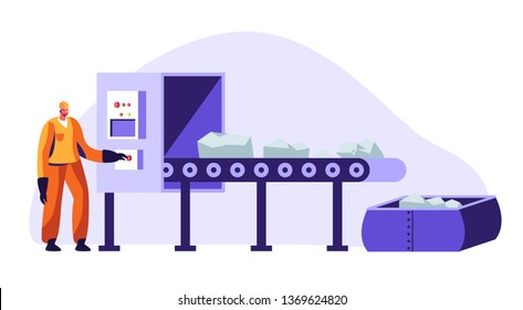 Metallurgy Worker in Working Uniform Pushing Button at Conveyor Belt Carrying Raw Ore Material for Iron Processing on Factory. Metallurgical Heavy Industry Company. Cartoon Flat Vector Illustration