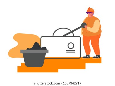 Metallurgy Worker in Working Uniform Pushing Lever Arm at Conveyor Belt Carrying Raw Ore Material for Iron Processing on Factory. Metallurgical Heavy Industry Company. Cartoon Flat Vector Illustration
