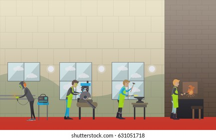 Metalworking concept vector illustration. Factory workers smith, welder, foundry worker, moulder, metal cutter design elements in flat style.
