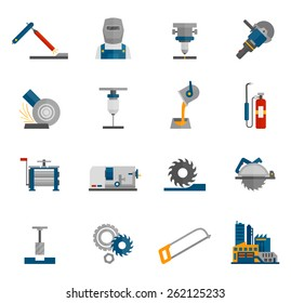 Metal-working labor mechanical industry icon flat set isolated vector illustration