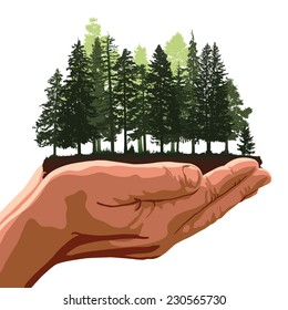 Metaphor about hands holding a group of trees like a forest. Editable vector illustration with elements as separate objects.