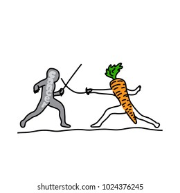 metaphor benefit of carrot is to fighting cancer vector illustration sketch hand drawn with black lines, isolated on white background. Education Medical concept.