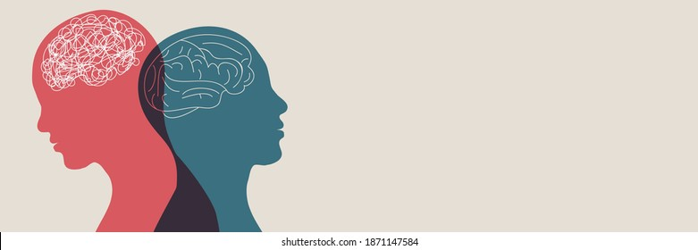 Metaphor bipolar disorder mind mental. Double face. Split personality. Concept mood disorder. Psychology. Dual personality concept. 2 Head silhouette.Mental health. Tangle and untangle