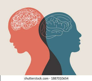 Metaphor bipolar disorder mind mental. Double face. Split personality. Concept mood disorder. 2 Head silhouette.Psychology. Mental health. Dual personality concept. Tangle and untangle