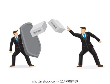 Metaphor of a businessman throwing his work bricks to his colleague which is protecting himself with a shield. Concept of corporate bully, sabotage and bad office culture. Vector illustration