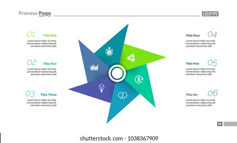Metaphor diagram with five elements. Pinwheel, cycle chart, slide template. Creative concept for infographics, presentation, report. Can be used for topics like business, finance, human resource