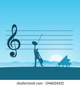 metaphor man composing music with piano with blue gradient shade background illustration vector.
