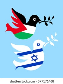 METAPHOR MEANING: Two doves with olive branch in colors of Palestine and Israel as metaphor of peace and peaceful coexistence