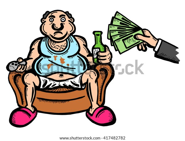 METAPHOR MEANING: Unconditional Basic Income as absurd welfare benefit - hand is giving money / salary to fat lazy man sitting in armchair, watching TV and drinking. Illustration isolated on white.