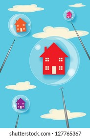 A metaphor for a property bubble. Houses floating in bubbles that are about to be burst with large pins.