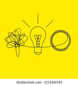 Metaphor solution to business problems, abstract line icon insight, tangle,  lamp and unravel tangle. Vector illustration