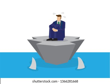 Metaphor of stress businessman alone on an island surrounded by sharks. Concept of corporate crisis, failure or sabotage. Isolated vector illustration.