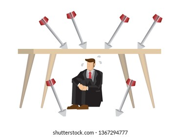 Metaphor of stress businessman hiding under a table from arrows. Concept of corporate crisis, bad office culture or corporate sabotage. Isolated vector illustration.