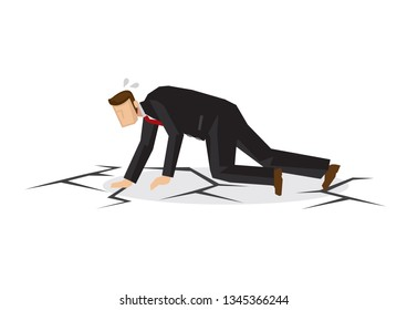 Metaphor of stress businessman on crack floor. Concept of corporate crisis, failure or sabotage. Isolated vector illustration.