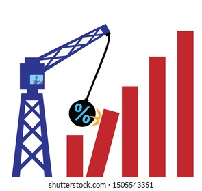 A metaphor using a wrecking ball with a percetage symbol crashing into a bar chart to illustrate the impact of intrest rates on global growth.