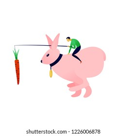 A metaphor vector illustration for carrots and sticks; a businessman racing on a hare or rabbit with a hanging prize or incentive.
