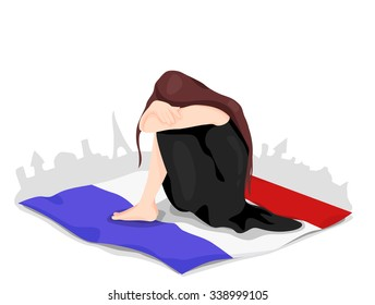 Metaphoric illustration of France.  Crying woman, mourning, sits on the French flag. Paris on the background, with an Eiffel tower.