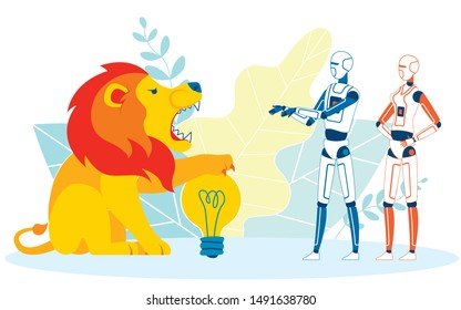 Metaphorical Illustration of Firewall Cartoon. Angry, Scary Lion Defending Lightbulb from Robots, Androids Vector. Antivirus Protection from Automated Hacking, Web Scraping Programs