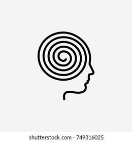 Metaphysics icon. Brain spiral
